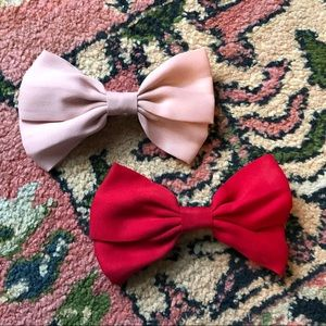 Anthropologie bow hair clips red + pink